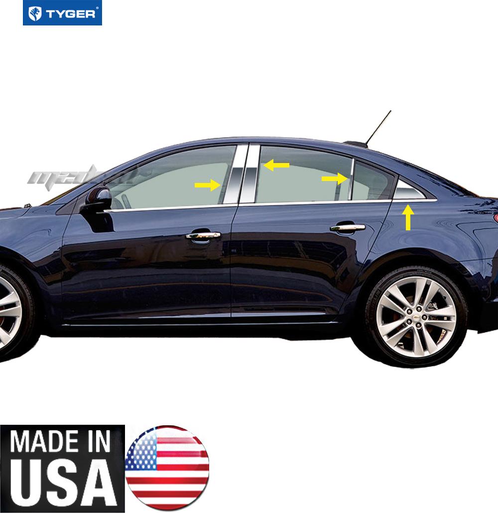 TYGER For 2011-2015 Chevrolet Cruze 8PC Stainless Steel Chrome Pillar Post Trim